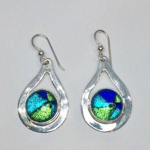 Handmade Sterling & Art Glass Earrings